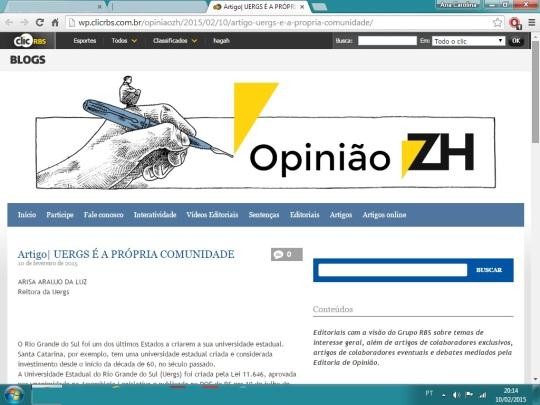 Artigo Arisa UERGS ZH
