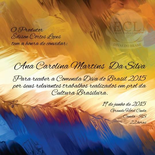 Convite Comenda Diva do Brasil 2015