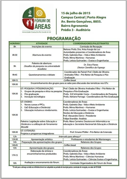 Programação Fórum de Áreas da UERGS